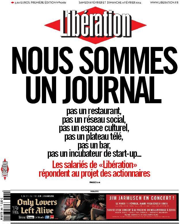 لسنا مطعما أو بار  هكذا كتب صحفيو ليبراسيون في صدر الصفحة الأولى