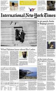 """الصفحة الاولى من النسخة المحلية من """"نيويورك تايمز"""""""