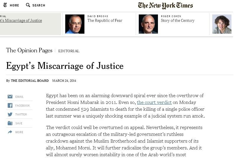 إجهاض العدالة في مصر .. افتتاحية نيويورك تايمز