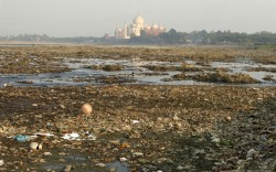 The polluted Yamuna river runs alongside the Taj Mahal in Ag