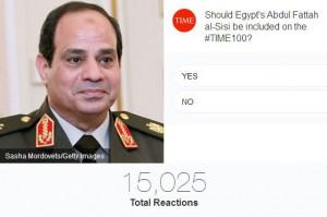 """عدد الأصوات التي حصل عليها  وزير الدفاع السابق، المرشح الرئاسي،عبد الفتاح السيسي في استطلاع """"تايم"""""""