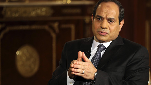 Egypt's presidential candidate and former army chief Abdel Fattah al-Sisi, gestures during an interview with Reuters in Cairo