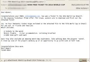 رسالة بريد إلكتروني احتيالية تعرض تذاكر مجانية لحضور مباريات كأس العالم