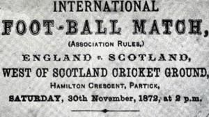 إعلان عن أول مباراة دولية في التاريخ، إنجلترا ضد اسكتلندا عام 1872