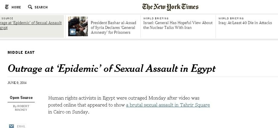 نيويورك تايمز وصفت الاعتداء الجنسي في مصر بالوباء