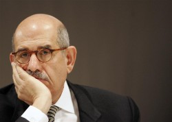IAEA Director General El Baradei listens to a speech at the International Conference on Preventing Nuclear Catastrophe in Luxembourg