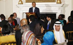 U.S. President Barack Obama speaks while hosting an Iftar dinner at the White House in Washington