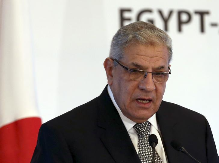 Egypt's Prime Minister Mehleb delivers a speech while attending a conference in Cairo