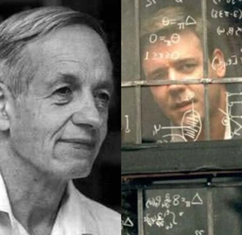 """راسل كرو في لقطة من فيلم  """"عقل جميل"""" الذي يحكي قصة حياة جون ناش"""