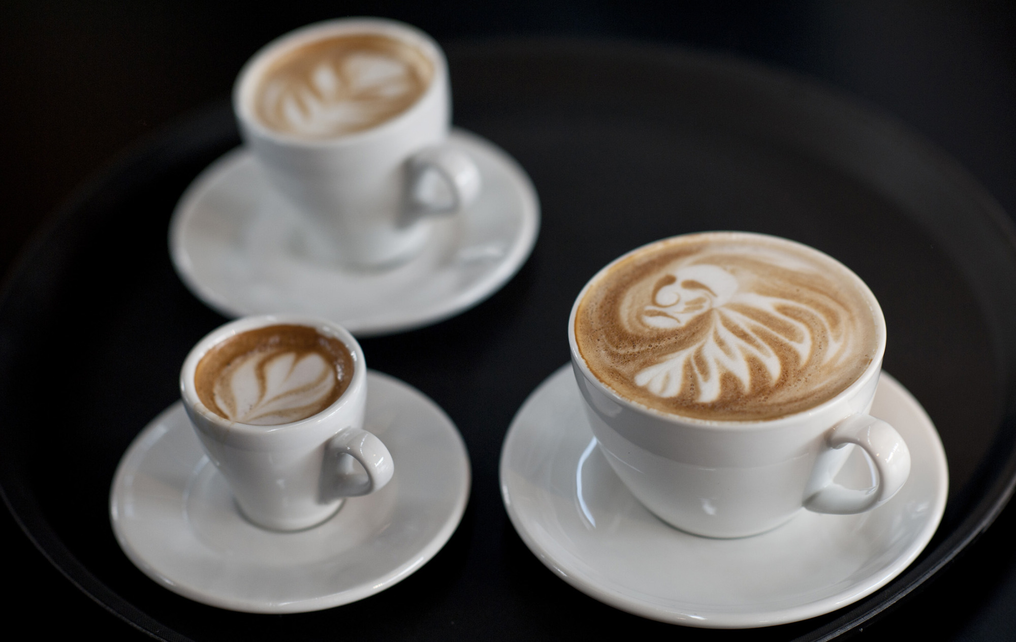 Latte art is displayed during finals of German Barista Championships in Hamburg