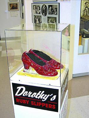 "This pair of ruby slippers, one of four known to exist, were used in the film ""The Wizard of Oz,"" released in 1939. They were on loan to the Judy Garland Museum in Grand Rapids in 2005 and were stolen that August. The crime remains unsolved. Next week, as part of the annual Wizard of Oz Festival run by the museum, divers will search for the slippers in an iron ore pit west of the city. Photo courtesy Judy Garland Museum"