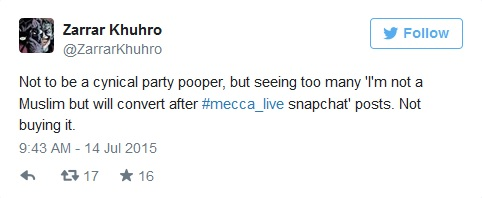 """لا أريد أن أكون مفسد حفلات ساخر، لكن رؤية الكثير من """" أنا لست مسلم لكن سأتحول للإسلام بعد بث سناب شات ل #mecca_live """". لا أصدقه."""