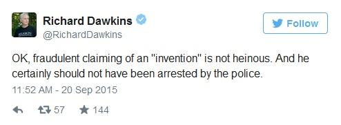 """حسناً، الاحتياليه المزعومه بأنها """"اختراع"""" ليست شنيعه. وهو بالتأكيد لم يكن يجب أن يتم الفبض عليه من قبل الشرطه."""