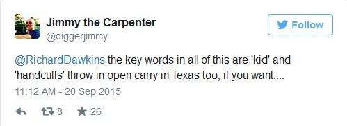 """الكلمة المفتاحية في كل هذا هي"""" طفل"""" و """"أصفاد"""" ورمي في عربة ترحيلات مفتوحه في تكساس أيضاً، إذا أردت.."""