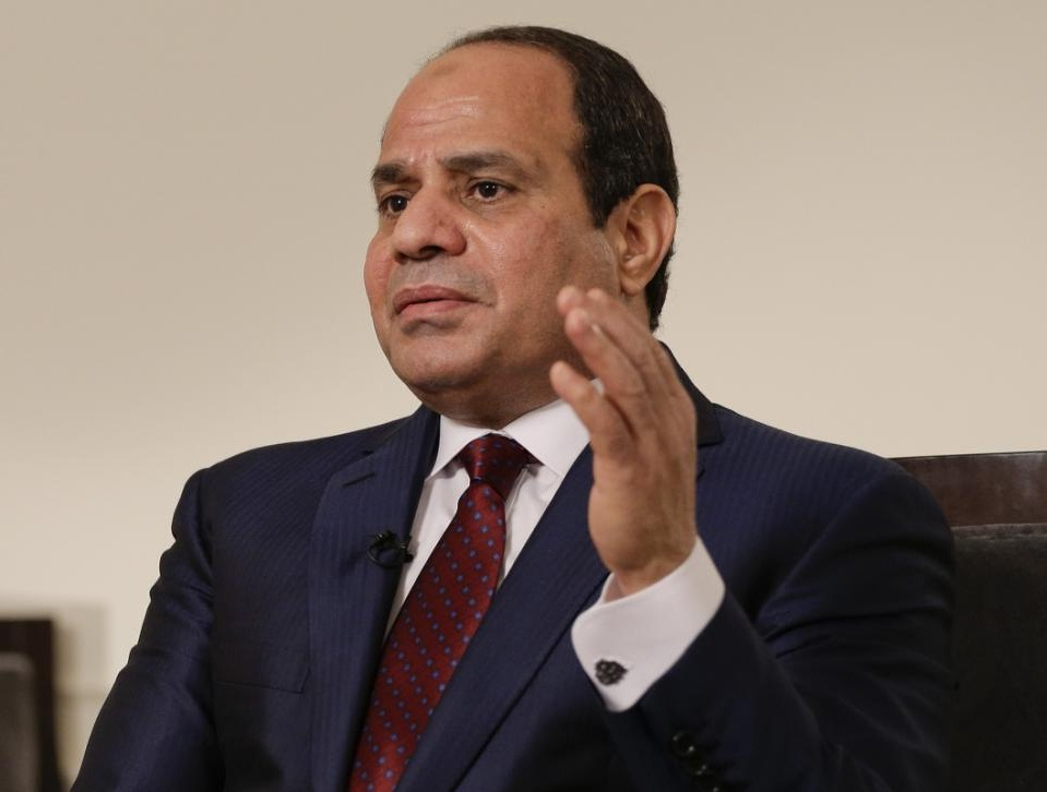 Egyptian President Abdel Fattah el-Sisi answers questions during an interview, Saturday, Sept. 26, 2015, in New York. Sisi discussed various issues including Egypt's role in the Middle East, his country's work on an expansion project to the Suez Canal, and relations with the United States. (AP Photo/Julie Jacobson)