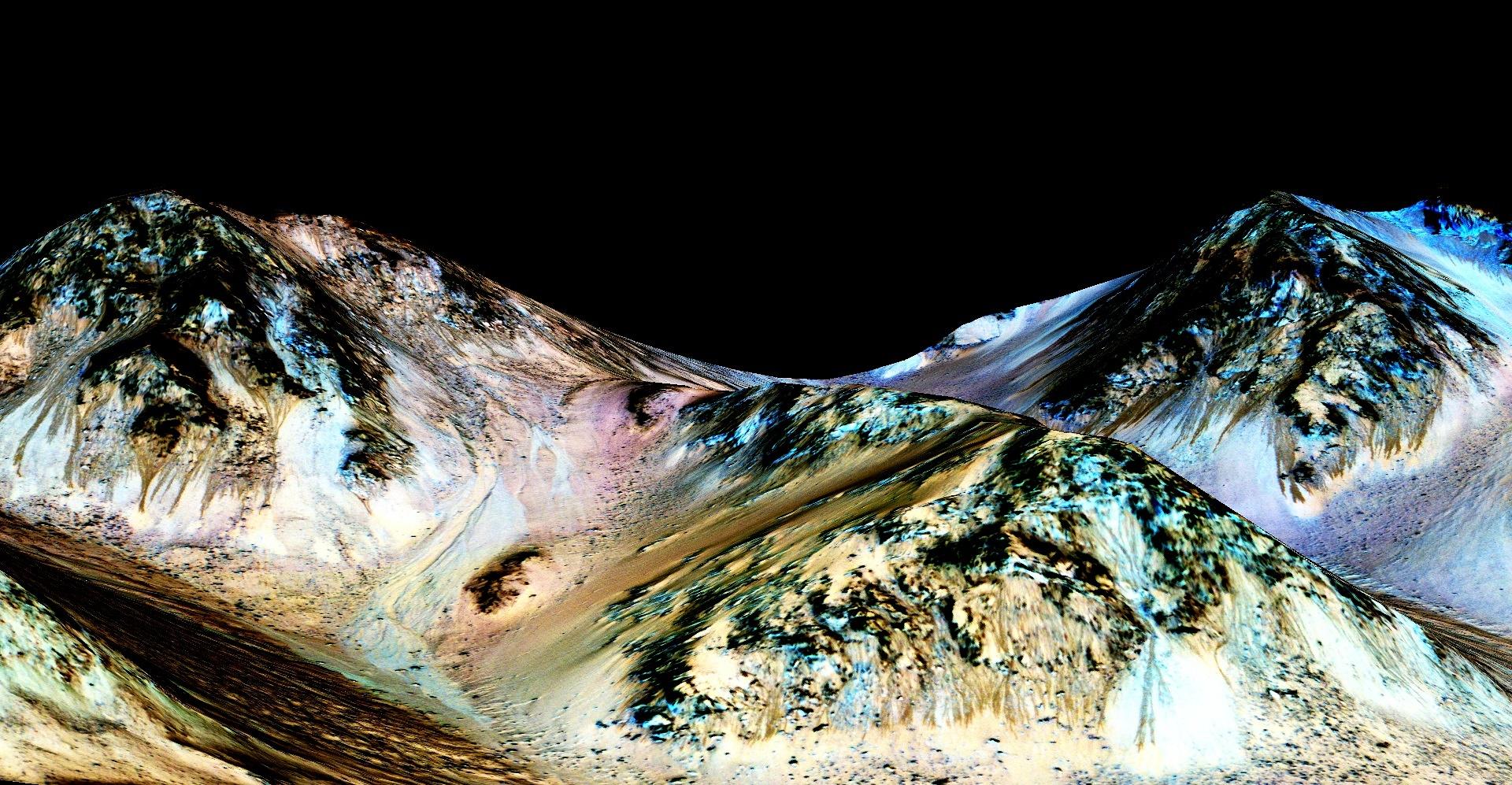 أظهر تحليل هذه الصور أنها قنوات مائية بينما البقع الزرقاء تشير إلى أماطن لوجود معادن