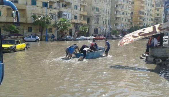 آثار أمطار الاسكندرية