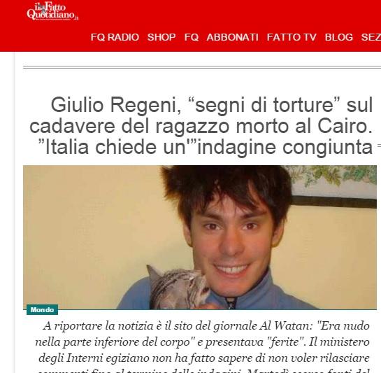 ilfattoquotidiano الإيطالية: آثار تعذيب على جثة الطالب الإيطالي وإيطاليا تدعو إلى تحقيق مشترك