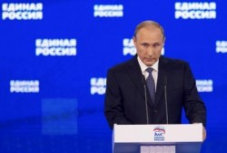 الرئيس الروسي فلاديمير بوتين يلقي خطابا في موسكو  يوم الاثنين - صورة لرويترز من ممثل عن وكالات الانباء