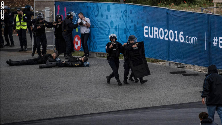 Policemen take part in a mock suicide attack exercise as part of security measures for the upcoming Euro 2016 football championship, at the Parc Olympique Lyonnais stadium in Decines-Charpieu, near Lyon, central-eastern France, on May 30, 2016. / AFP / JEFF PACHOUD        (Photo credit should read JEFF PACHOUD/AFP/Getty Images)