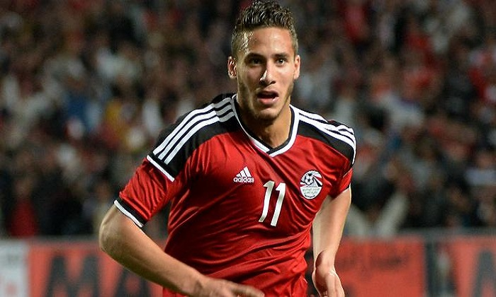 Egypt's Ramadan Sobhi celectats his goal against Nigeria during their African Cup of Nations group G qualification football match between Egypt and Nigeria at the Borg el-Arab Stadium in Alexandria on March 29, 2016. / AFP / KHALED DESOUKI        (Photo credit should read KHALED DESOUKI/AFP/Getty Images)
