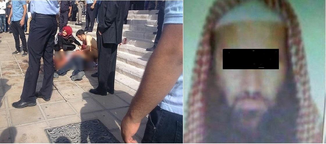 إلى اليمين صورة متداولة في وسائل الإعلام الأردنية للقاتل، وإلى اليسار صورةمن حادثة الاغتيال