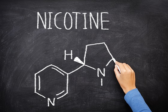 Nicotine molecule chemical structure on blackboard. Chemical structure of nicotine from cigarettes written on blackboard by teacher in education of health. Nicotine molecule on green chalkboard.