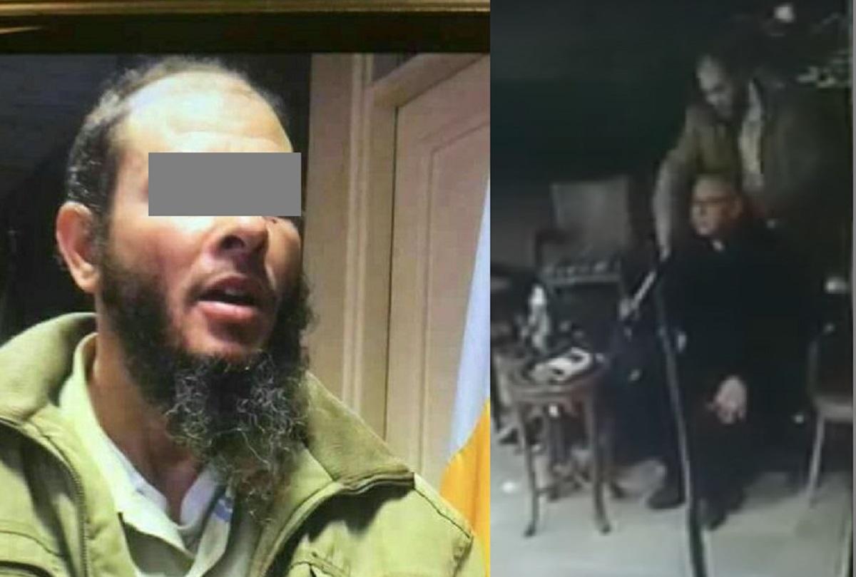 إلى اليمين المتهم أثناء ارتكاب الجريمة وإلى  اليسار أول صورة له عقب القبض عليه