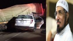 إلى اليمين الداعية سلمان العودة، وإلى اليسار صورة تم تداولها بكثافة على أنها صورة للحادث