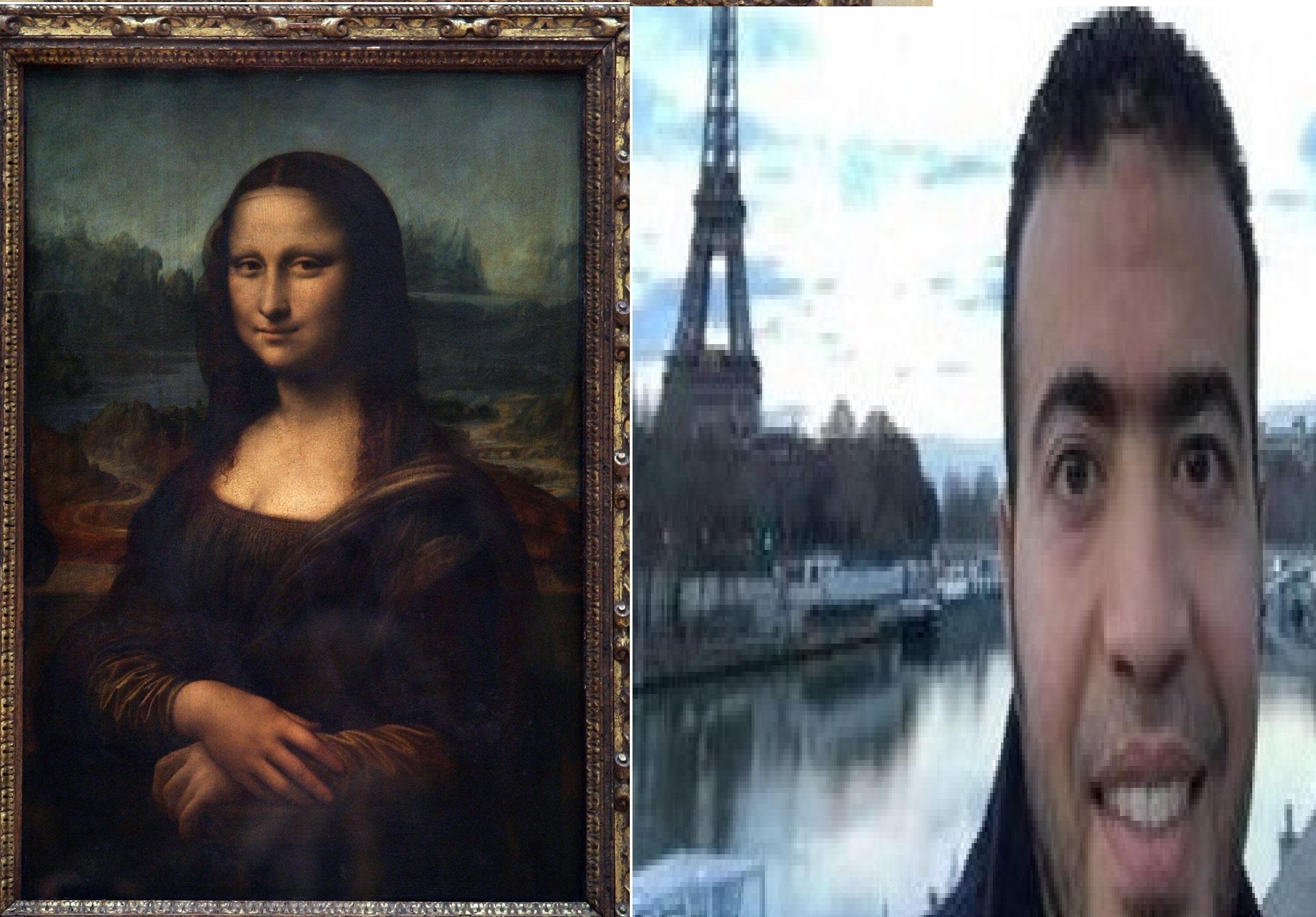 إلى اليمني وصةر عبد الله الحماحمي التي أرسلها ألى أهله قبل الهجوم بدقائق ، وإلى اليسار لوحة الموناليزا أشهر مقتنيات متحف اللوفر