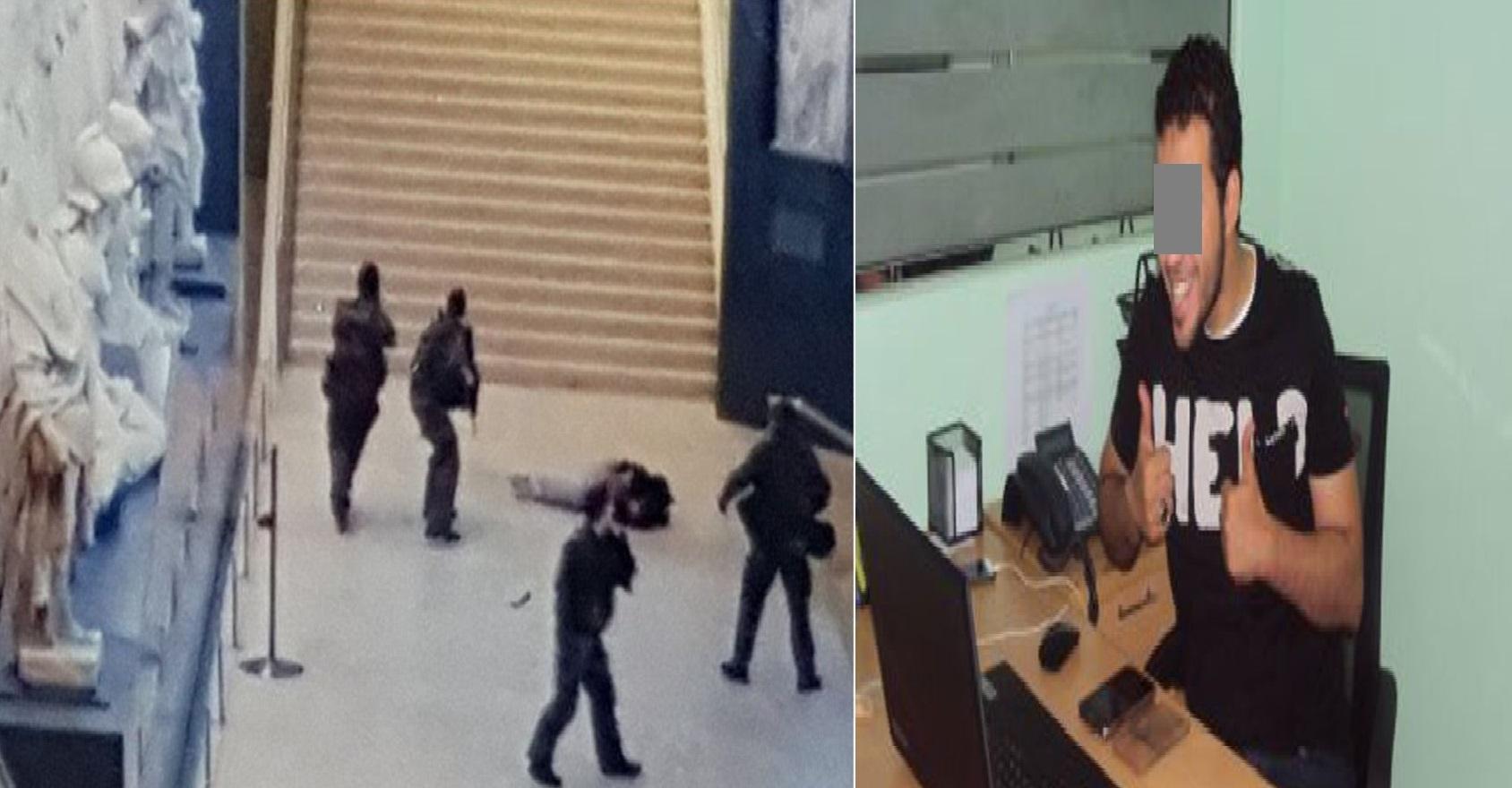 إلى اليمين المشتبه به عبد الله الحماحمي، وإلى اليسار صورة وزعتها الشرطة الفرنسية للحظة الهجوم