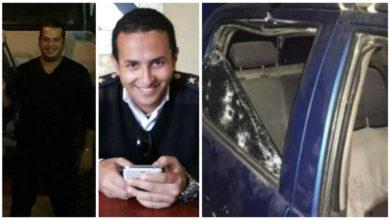 سيارة الكمين بعد تعرضها للهجوم والنقيب محمد وهبة (اليمين) والنقيب أيمن حاتم (اليسار)
